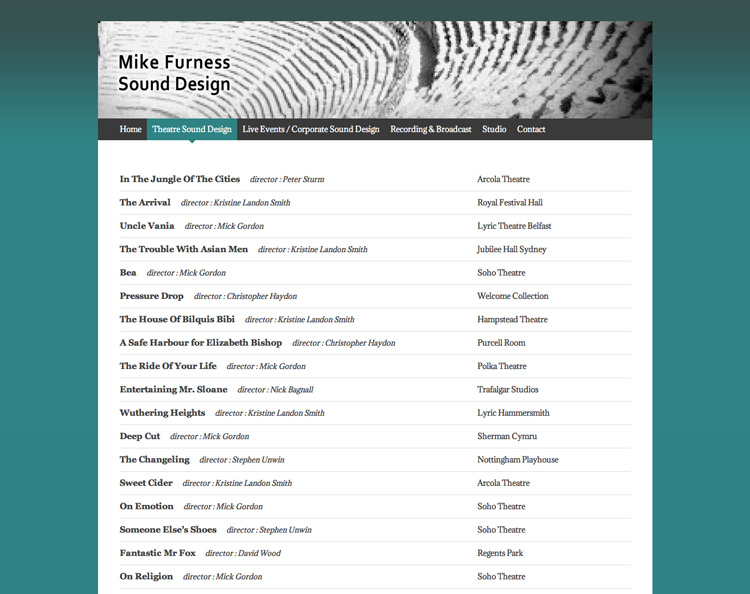 Mike Furness | Sound Designer based in UK
